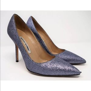 MANOLO BLAHNIK Blue-Gray Glitter BB 105 Pumps